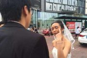 Chinese bride transforms herself into an old granny, asks her groom if he'll still love her when she's old, and wants him to look old for their wedding photos as well.