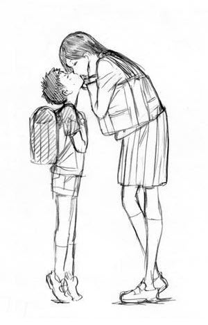 A short boy kissing a tall girl.