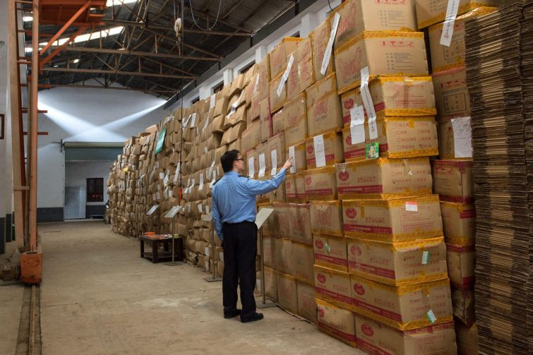 Boxes of illegal condoms stored in a warehouse in Changsha.