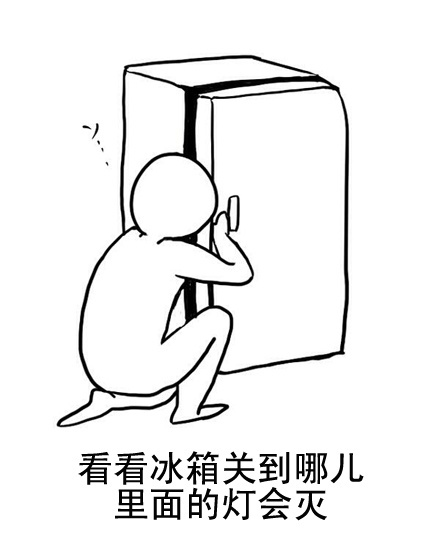Cartoon of a man peeking into a refrigerator to see when the light turns off.