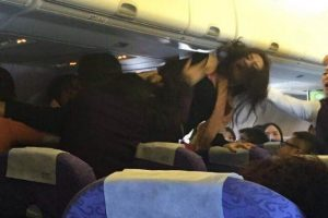 Chinese passengers in a physical fight on an Air China flight from Chongqing to Hong Kong.