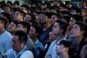 """A male Chinese crowd (of """"diaosi"""") at ChinaJoy."""