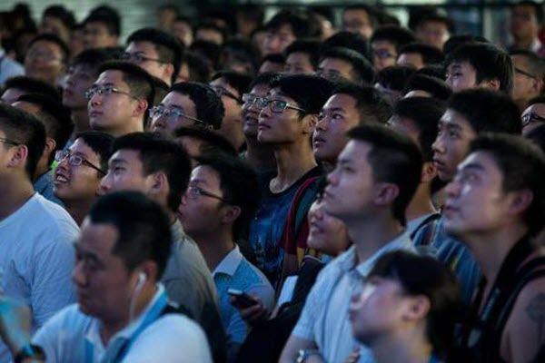 "A male Chinese crowd (of ""diaosi"") at ChinaJoy."