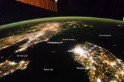 Satellite photo of North Korea at night, showing a patch of darkness next to brightly lit China and South Korea.