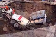 Cement Truck Swallowed as 100 Square meters of Road Collapses