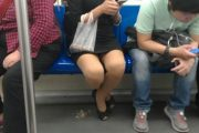 Young Woman Eats Seeds On Subway, Older Woman Cleans